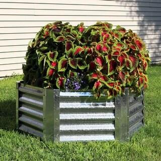 Sunnydaze Galvanized Steel 40-Inch Hexagon Raised Garden Bed - 16-Inch Deep