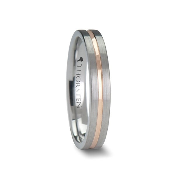 THORSTEN - ZENA Flat Brushed Finish Tungsten Ring with Rose Gold Channel - 4mm