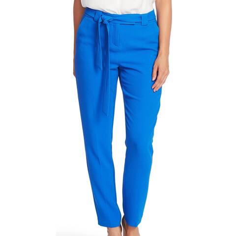 Vince Camuto Womens Dress Pants Blue Size 4 Parisian Crepe Slim Leg
