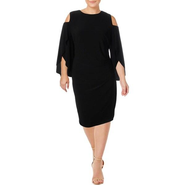 Lauren Ralph Lauren Womens Plus Cocktail Dress Cold Shoulder Knee-Length