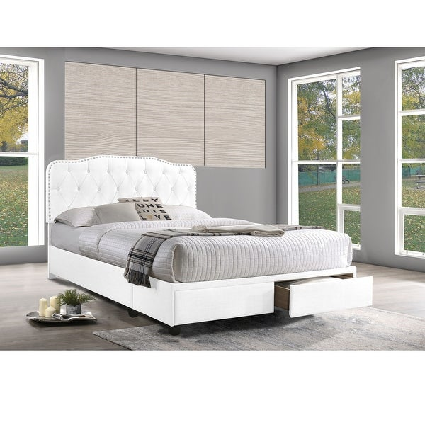 Best Quality Furniture 2-Drawer Storage Tufted Bed with Nailhead Trim. Opens flyout.