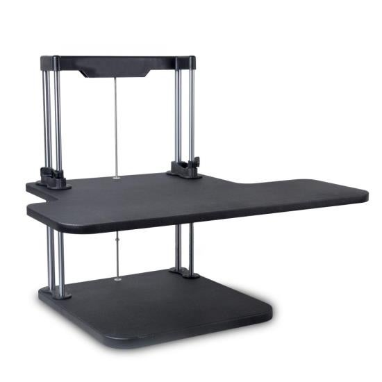 Siting/Standing Adjustable Workstation - Universal Computer/Laptop Desk Stand (1 Adjustable Shelf Tray)