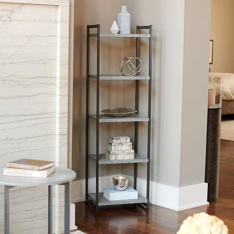 Household Essentials 5-Tier Storage Tower Shelf, Slate Gray
