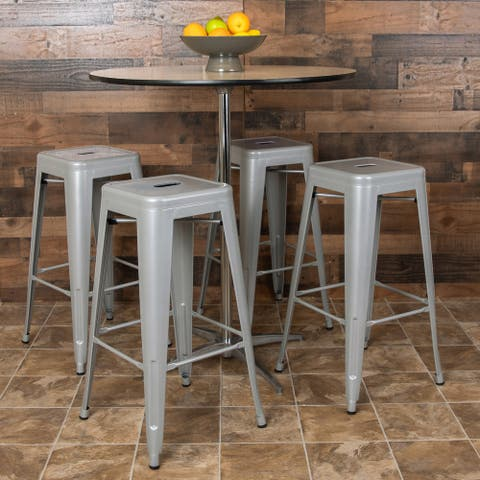 "4 Pack 30"" High Metal Indoor Bar Stool - Stackable Stool"
