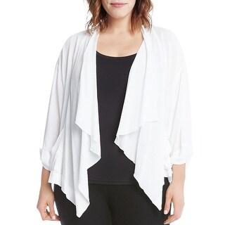 Karen Kane Womens Plus Jacket Crinkled Drapey