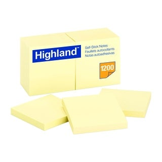 Highland Self-Stick Notes, 3 x 3 in, Yellow, Pad of 100 Sheets, Pack of 12