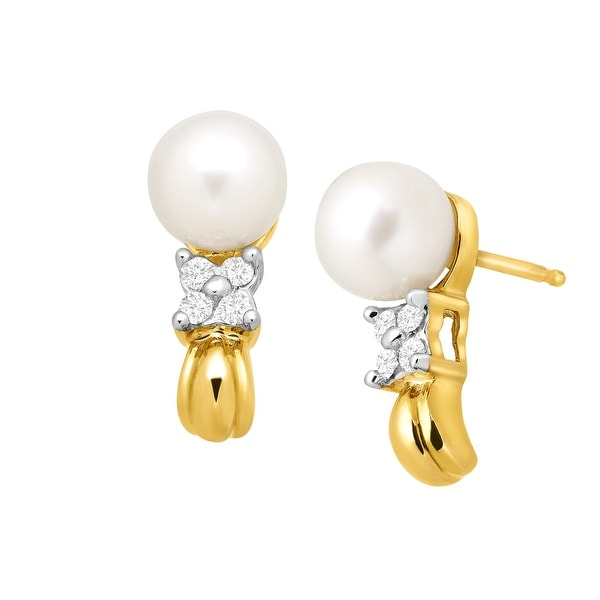 6 mm Freshwater Pearl & 1/10 ct Diamond 'J' Earrings in 10K Gold