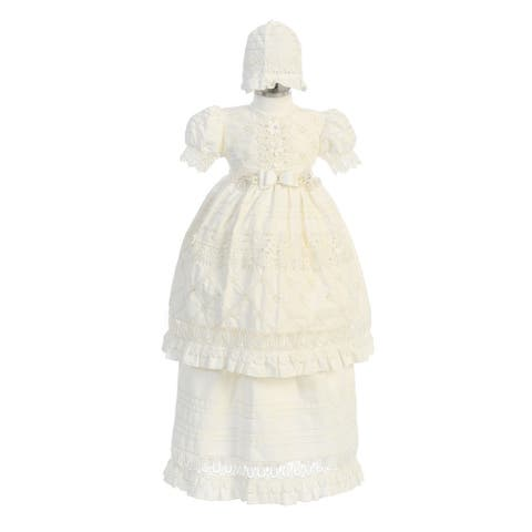Angels Garment Ivory Bow 2-Pc Christening Bonnet Dress Baby Girls