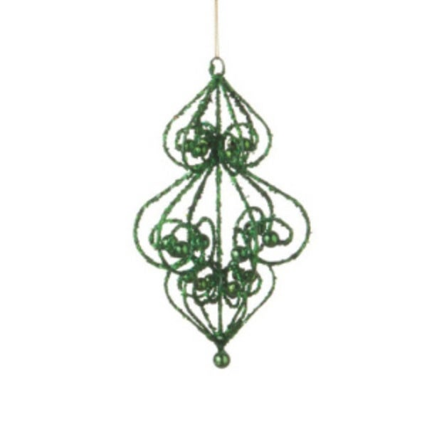 """Sugared Fruit Green Bead and Glitter Filigree Christmas Ornament 7"""""""