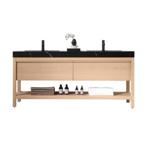 "BIOS 72"" Chestnut/Whitewash Freestanding Modern Bathroom Vanity Set"