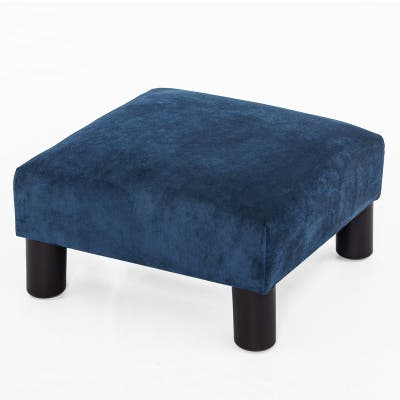 Adeco Ottoman Upholstered Fabric Footrest Pet Steps Dog Stair Stool