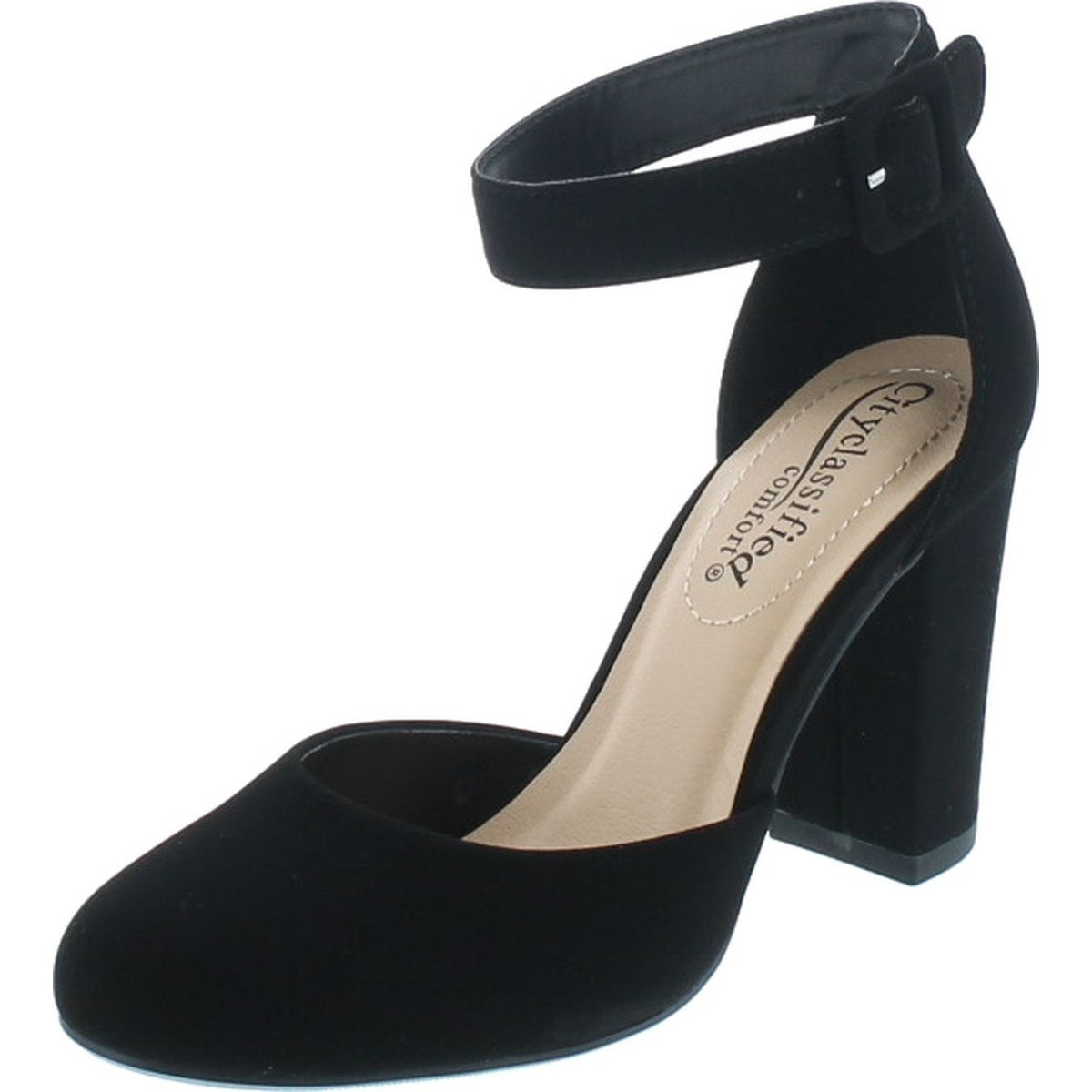 black heeled shoes with strap