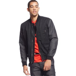 Sean John Mens Two-Tone Bomber Jacket Black- XL