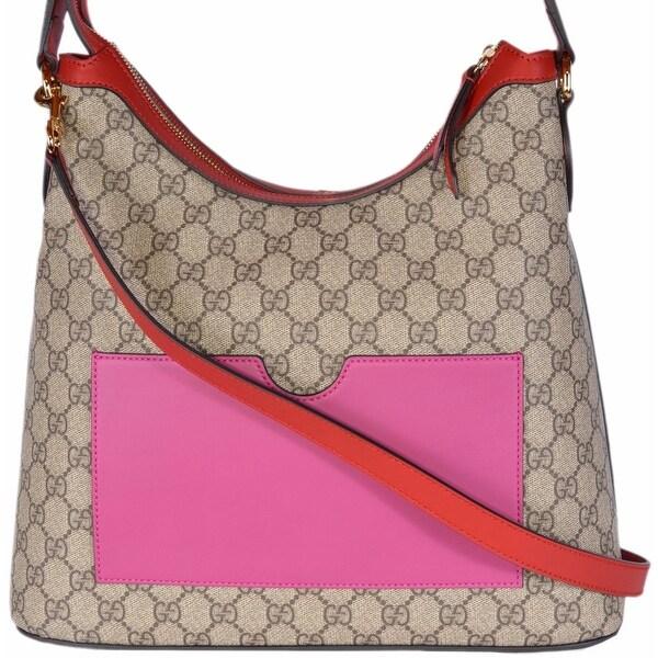 428a86e0e54 Gucci Women  x27 s 414930 GG Supreme Guccissima Convertible Hobo Purse Bag  - ebony