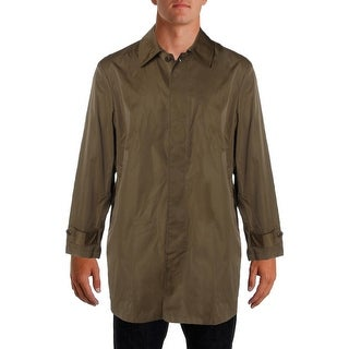 Tallia Mens Trench Coat Solid Button-Front