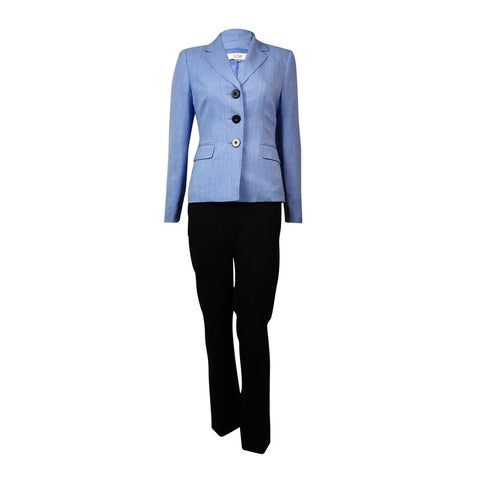 Le Suit Women's Notched Lapel Three Button Woven Pant Suit - viola/black