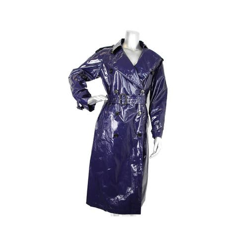 Burberry Women's Navy Blue Patent Canvas Trench Rain Coat 4065455 - 44 IT / 10 US