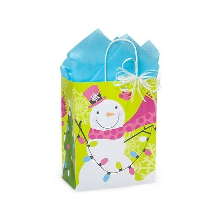 "Pack of 250, Cub Snowman Jubilee Bags 8.25 x 4.75 x 10.5"" For Christmas Packaging, 100% Recyclable,"
