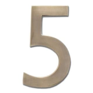 Architectural Mailboxes 3585-5 5 Inch Solid Cast Hand Finished Brass House Numbers