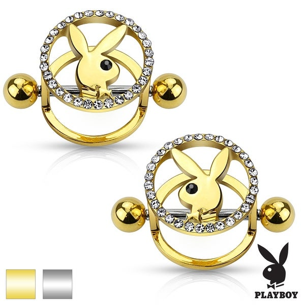 Pair of Playboy Bunny Center CZ Pave Circle Surgical Steel Nipple Shields - 14GA