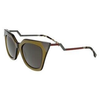 Fendi FF0060S 0MSW Iridia Clear Olive Cat Eye Sunglasses