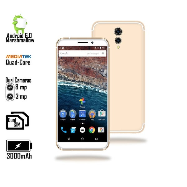Indigi Unlocked 4G LTE 5.6-inch Android 6.0 Quad-Core 1.2GHz SmartPhone (Fingerprint + 2SIM Slots + Bluetooth 4.0) Gold
