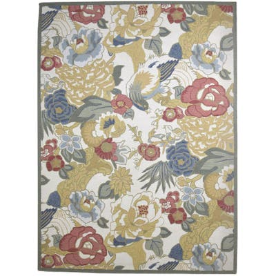 One of a Kind Hand-Tufted Modern 9' x 12' Floral & Botanical Wool Multi Rug - 9' x 12'