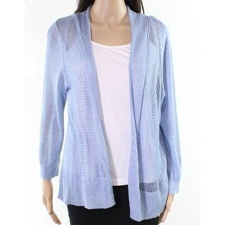 Alfani NEW Free Blue Womens Size XL Mix-Knit Open-Front Cardigan Sweater
