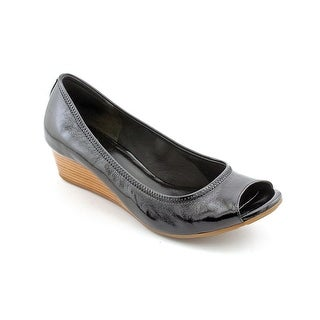 Cole Haan Air Tali.OT.Wedge.40 Women Open Toe Patent Leather Black Wedge Heel