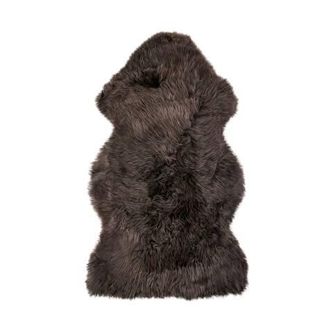 New Zealand Sheepskin Black Single Rug (2' x 3') - 2' x 3'