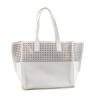 Emilie M. La Mar Perforated Tote Women Leather White Tote|https://ak1.ostkcdn.com/images/products/is/images/direct/6a78ee054e4cbf48ca379acc96f18a8c7be9a670/Emilie-M.-La-Mar-Perforated-Tote-Women-Leather-White-Tote.jpg?impolicy=medium