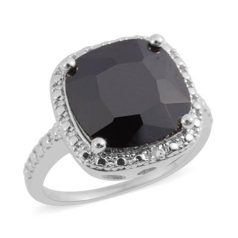 Silvertone Black Glass Diamond Statement Ring Ct 0.01
