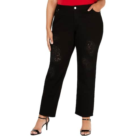 Michael Kors Womens Plus Jeans Lace Patchwork Relaxed Fit