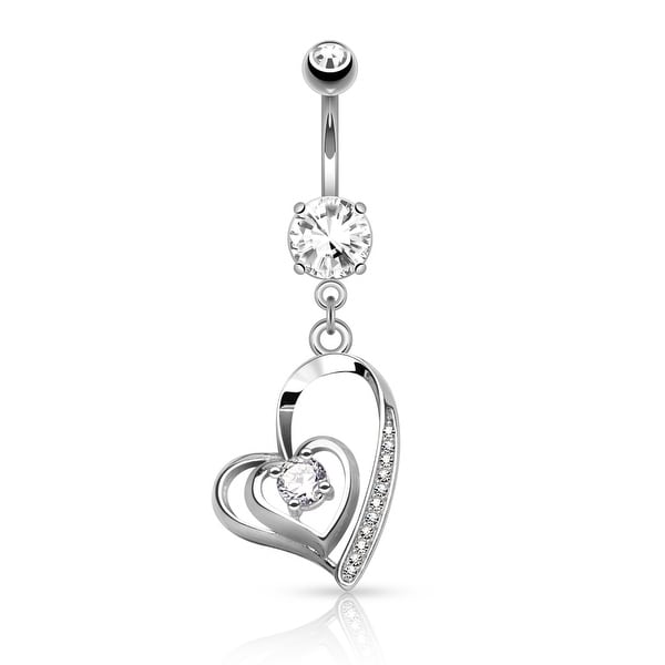 CZ Center Double Heart with Micro Pave CZ Dangle Surgical Steel Navel Ring - 14GA (Sold Ind.)