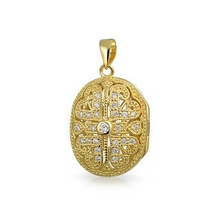 Bling Jewelry Gold Plated Antique Style Oval Locket .925 Silver Pendant