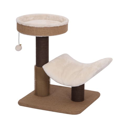 CUSHY- 2 LVL, CAT TREE, BEIGE, 17x17x21""