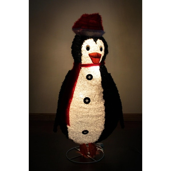 "48"" Lighted Sparkling Tinsel and Sisal Penguin Christmas Outdoor Decoration - black"