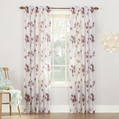 No. 918 Kiki Floral Crushed Voile Sheer Rod Pocket Curtain Panel, Single Panel