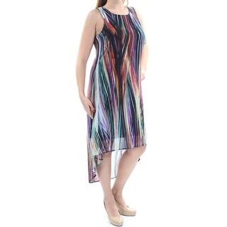 KAREN KANE $138 Womens New 1334 Purple Sleeveless Scoop Neck Hi-Lo Dress L B+B