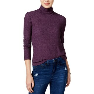 Chelsea Sky Womens Pullover Top Ribbed Turtleneck