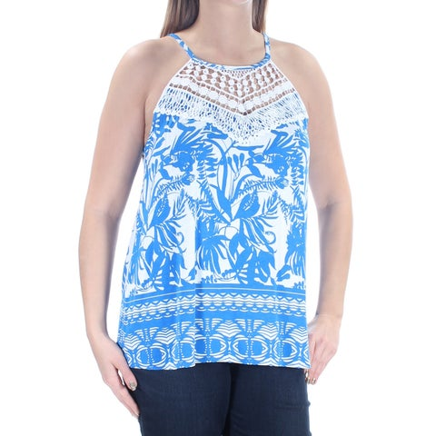 Womens Blue Floral Sleeveless Halter Casual Top Size XXL