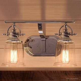 """Link to Luxury Industrial Bathroom Vanity Light, 9.5""""H x 16""""W, with Vintage Style, Polished Chrome Finish by Urban Ambiance Similar Items in Bathroom Vanity Lights"""