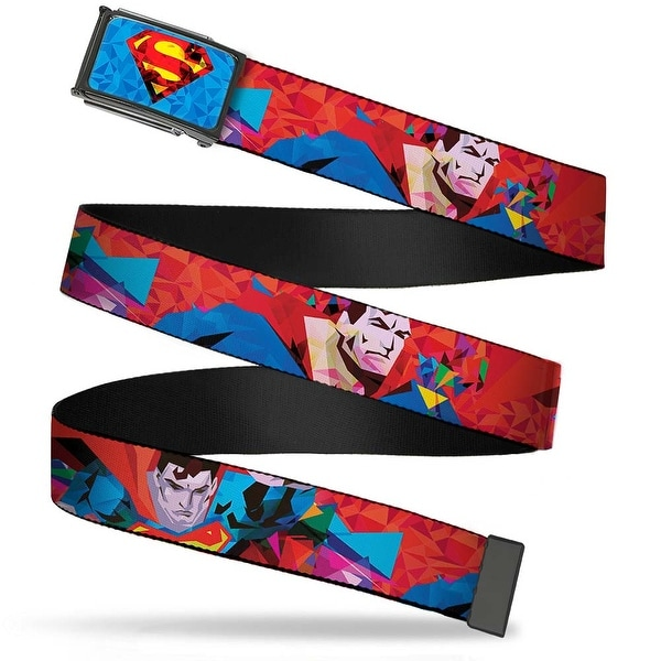 Polygonal Superman Shield Fcg Blues Reds Yellows Black Frame Superman Web Belt - M