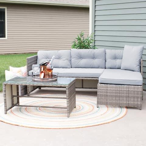 Longford Rattan Chaise Sofa Patio Sectional Furniture Set - Stone Gray