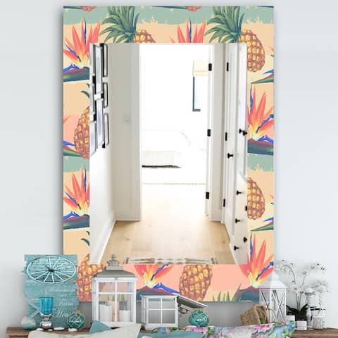 Designart 'Tropical Mood Pineapple 4' Bohemian and Eclectic Mirror - Vanity Mirror