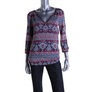 Lucky Brand Womens Modal Blend 3/4 Sleeves Casual Top - S