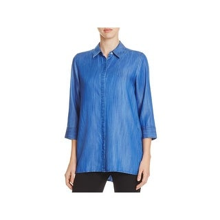 Foxcroft Womens GiGi Button-Down Top Lace Up Casual