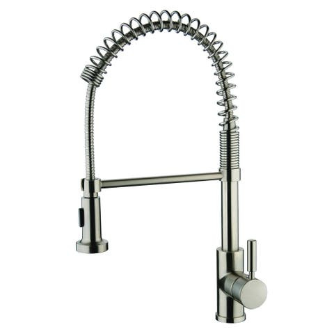 Foreman Single Handle Pull-out Brushed Nickel Finish Kitchen Faucet with Single Mount Pull-out Sprayer