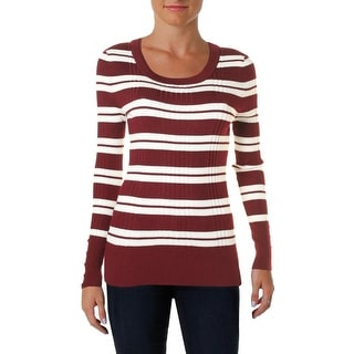 Hooked Up by IOT Womens Juniors Pullover Sweater Ribbed Knit Striped