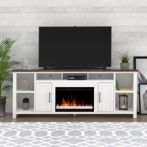 86-inch White Rustic Media TV Stand w/ Electric Fireplace Incluced